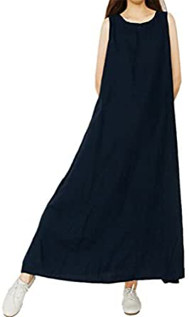 FENIKUSU Women's Summer New Loose Casual Plus Size Cotton Basic Long Dress (Navy)