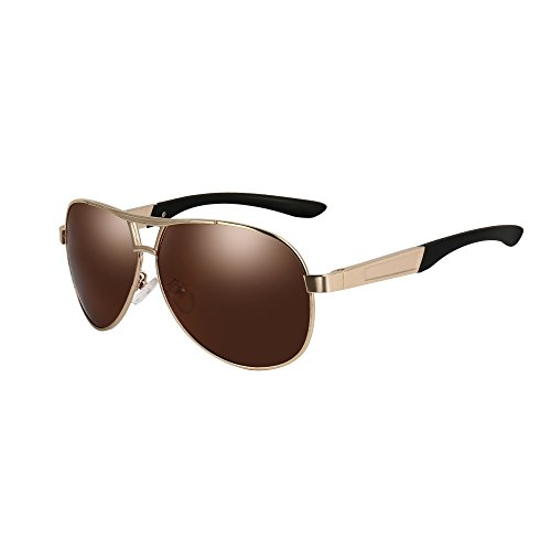 VEITHDIA VA193 Hot Fashion Men's Polarized Aviator Sunglasses 100% UV protection (Golden Frame/Dark brown Lens, as the - Aviator Golden Sunglasses
