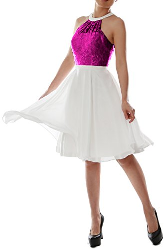 Homecoming Lace Gown Halter Bridesmaid Dress Short Party Women Fuchsia Wedding MACloth a4qA8wx