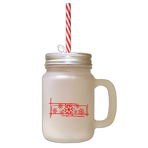 Red Snowflakes #1 Frosted Glass Mason Jar With Straw ()