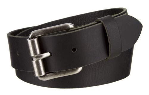 Antique Silver Plated Buckle Buffalo Genuine Full Grain Leather Belt 1 1//2 Wide Black New