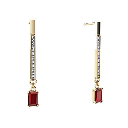 14kt Yellow Gold Garnet and Diamond 6x4mm Emerald_Cut Dangly Elegance Earrings 14kt Gold 6 Diamond Earrings