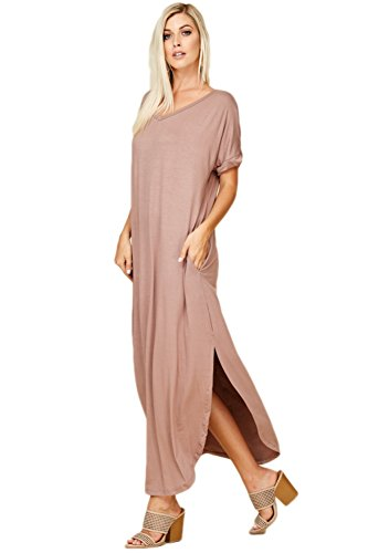 Dresses Grey Pockets Women's Short Maxi Taupe Neck Split Long with V Annabelle Sleeve RTp1Tq