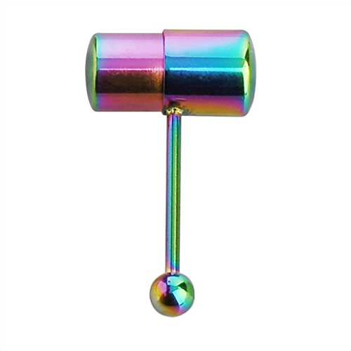 Steel Rainbow Anodized Vibrating Tongue Piercing Barbell Stud with 2 Batteries (Vibrating Tongue Barbells)