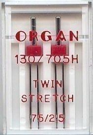 Agujas Gemelas Organ STRETCH para Máquina de Coser Tamaño 75 / 2.5 SE AJUSTARÁN A MÁQUINAS