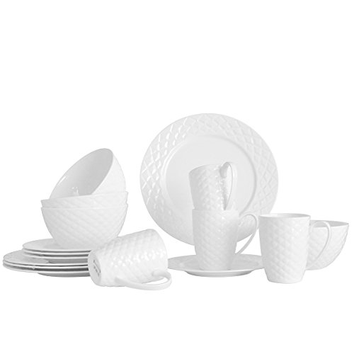 Gofortun 16 Pcs Fine Bone China Dinnerware Set- Fiona,Embossed Designs,Gorgeous White,Service for 4,Food Contact Safe, Microwave & Dishwasher Safe