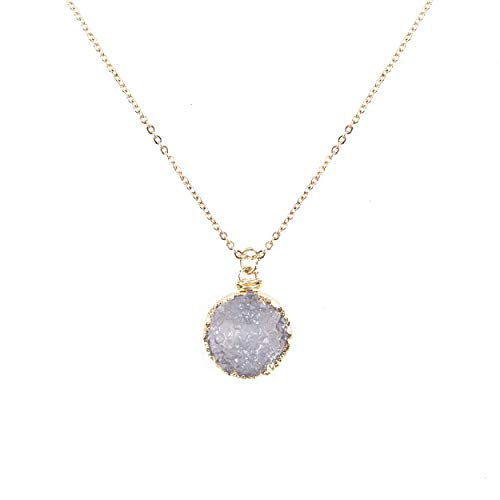 NTLX Women's Eye-Catching & Elegant Gold Plated Druzy Pendant Necklace (Black Diamond)