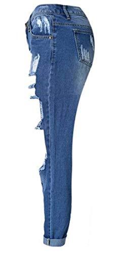Pockets Button Schwarz Slim Donna Distrutto Pantaloni Glamorous Fit Unita Denim With Alta Casual Pants Qualità Semplice Tinta Di TH7pqwvIx