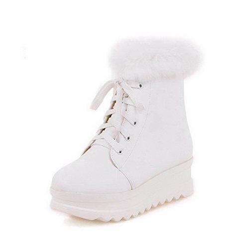 AllhqFashion Damen Mittler Absatz Rein Rund Zehe Weiches Material Schnüren Stiefel, Weiß, 35