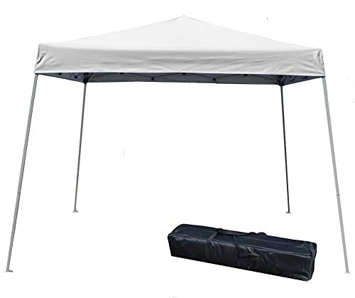 Impact Canopies 10′ x 10′ Pop-Up Canopy Tent, Instant Slant-Leg Portable Shade Tent with Carrying Bag, White, 040000001