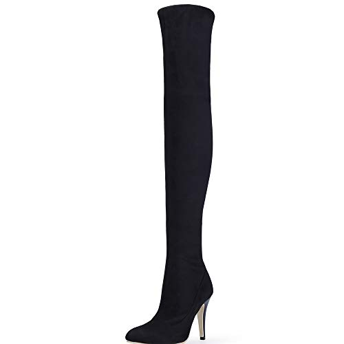 Shoe'N Tale Women Over The Knee High Stretchy Leather Thigh high Snow Boots (7.5 B(M) US, Black)