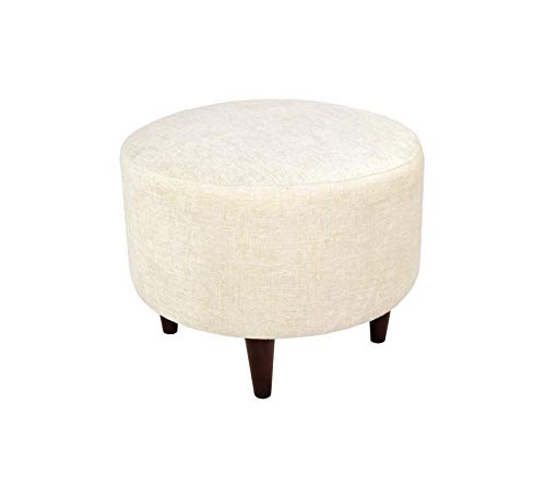Wood & Style Furniture Atlas Contemporary Round Ottoman, Bone White/Wooden Legs Home Office Commerial Heavy Duty Strong Décor