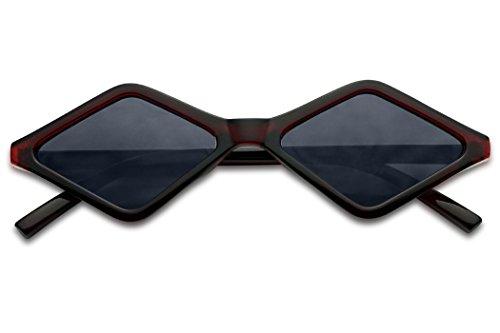 SunglassUP Sleek Summer Bright Vintage Diamond Shape Style Sunglasses (Burgundy Frame | Black) (Lens Burgundy Frame)