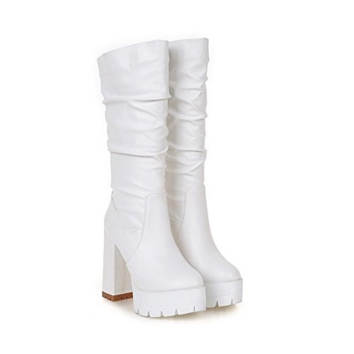 AgooLar Damen Rund Zehe Hoher Absatz Ziehen auf Mitte-Spitze Stiefel Weiß