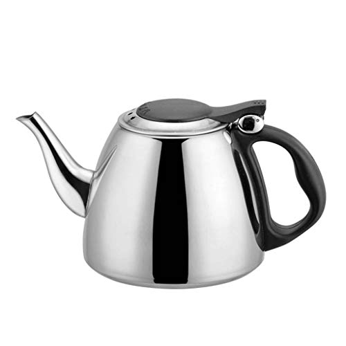 Geetobby New 1.2L Water Kettle Kitchen Rapid Heating Stainless Steel Flat Bottom Water Kettle Induction Cooker Coffee Teapot Silver Kitchen Supplies