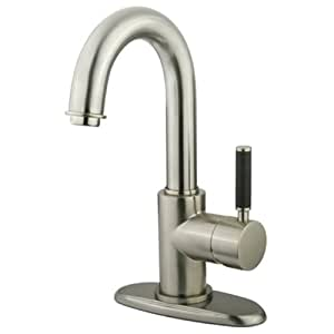 Kingston Brass FS8438DKL Kaiser 4-Inch Center Single Handle Lavatory Faucet with Push-up Drain, Satin Nickel