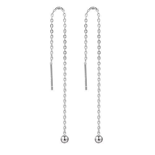 Amkaka 925 Sterling Silver Tassel Threader Drop Long Earrings for Women (2inch)