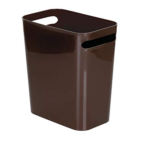 (mDesign Slim Plastic Rectangular Large Trash Can Wastebasket, Garbage Container Bin, Handles for Bathroom, Kitchen, Home Office, Dorm, Kids Room - 12