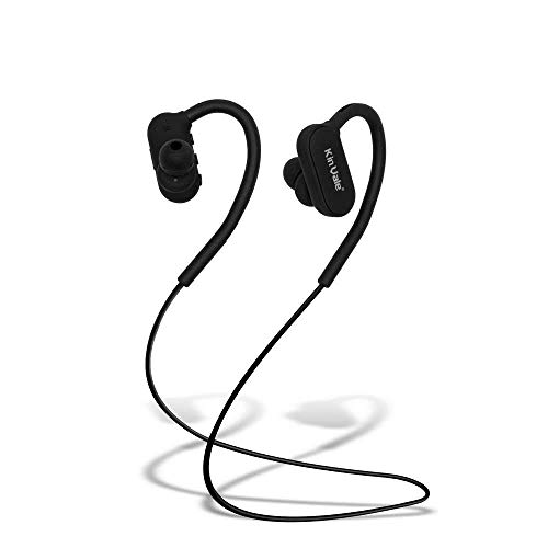 Kin Vale Bluetooth Headset, Wireless Hands Free in Ear Sport Headphone Waterproof Noise Reduction HD Sound Stereo Music Support Voice Prompt Call Time up to 8 Hours Range 10 Meters (Black)