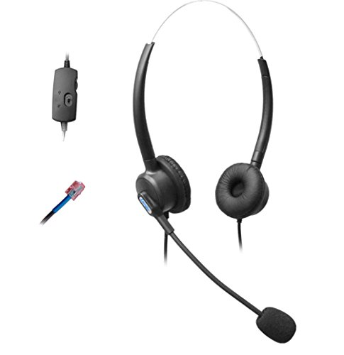 Comdio H203VC2 Binaural Call Center Telephone Headset headphone with Mic + Volume Mute Control for Cisco Unified IP Phones 7931G 7940 7941 7942 7945 and Plantronics M10 MX10 Vista Modular Adapters