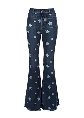 Glam and Gloria Womens Dark Denim Star Print Bell Bottoms Flare Jeans with Frayed Hem