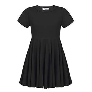 Best Epic Trends 31y9EOcp3AL._SS300_ Arshiner Girls Dress Short Sleeve A Line Swing Skater Twirl Summer Dress