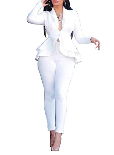 Salimdy Sexy 2 Piece Outfits for Women Long Sleeve Solid Blazer with Pants Casual Elegant Business Suit Sets White S
