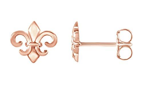 Fleur De Lis White Earrings (Stylish Fleur-de-lis Fashion Stud Earrings in Rose Gold Over Sterling Silver By Jewel Zone US)