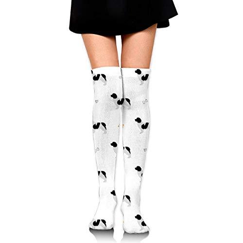 Personalized Newfoundland Dog Silhouette Socks Over Knee Socks Thigh High Long