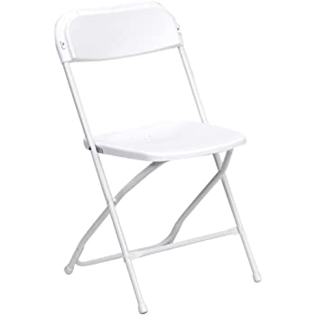 Flash Furniture Hercules Series 800 Pound Premium Plastic Folding Chair,  White