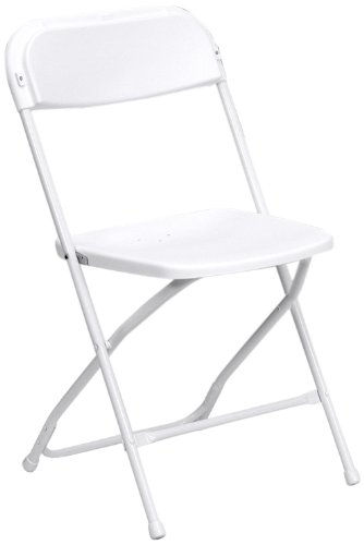 Flash Furniture HERCULES Series 800 lb. Capacity Premium White Plastic Folding Chair