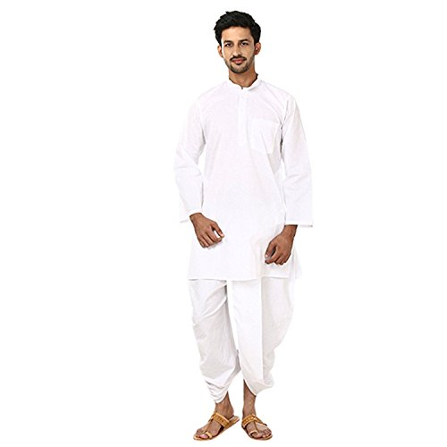 Focil Diwali Special Men's Cotton Dhoti Kurta Set_White_42 by FOCIL