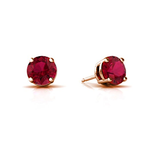 Solitaire Stud Post Earring Round Simulated Red Ruby Rose Gold Plated 925 Sterling Silver