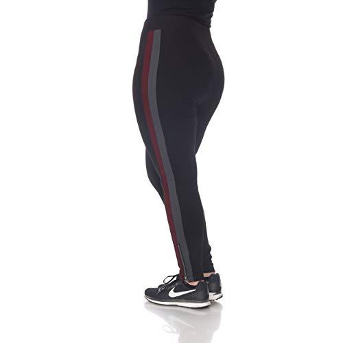 Blue Sunset Women's Plus Size Black Racer Stripe Ankle Zip Ponte Pant Full Length Leggings (XL)
