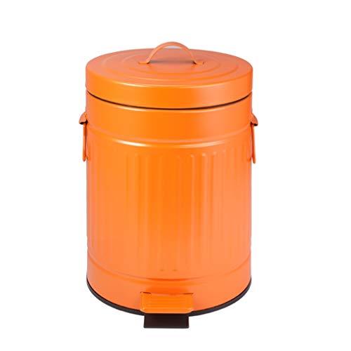 Trash Can Bathroom Living Room Kitchen Creative Foot Pedal Type Retro Covered Roman Grain Trash (Color : Orange, Size : - Retro Pedal 5l Bin