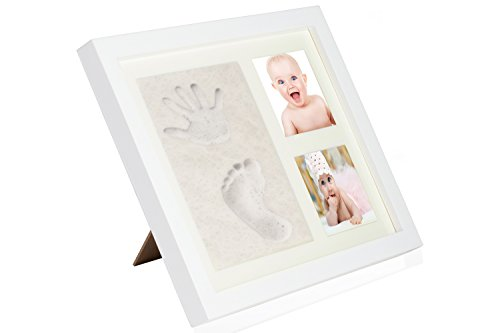 Ideallee Baby Footprint & Handprint Multiple Picture Collage Frame | Acrylic Glass, Wood Framing & Non-Toxic Clay | Hook To Hang Or Stand | Cute Baby Shower Gift, Newborn Keepsake For Images & More - Metal Oval Bed Set