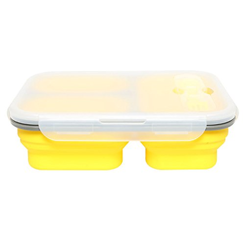 LuckyG Lunch Box,Microwave Safe,Collapsible Silicone On the Go Bento Box,Food Container (3-Compartment, Yellow)