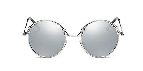 polarisées style en inspirées soleil retro rond Lennon lunettes Blanc cercle vintage du métallique Mercure de qCXwRE