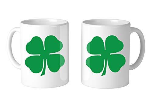 - Amdesco 4-Leaf Clover 11 Oz White Coffee Mug (2 Mugs)