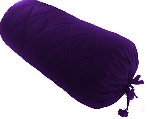 (Purple Quilted Bolster Pillowcase - Neck Roll Round Quilted Bolster Cover for Bed Sofa Chair Couch Lounge Cotton 6