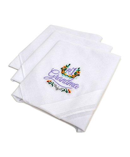 Grandma Handkerchief - Boxed Fancy 3 pc Ladies Cotton Handkerchiefs (#1 Grandma)