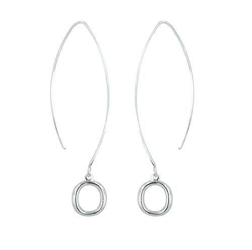 925 Solid Sterling Silver Dangling Hoop Threader 2 Inch Earrings - Long Dangle Circle Jewelry for Women