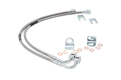 Extended Brake Lines - Rough Country - 89707 - Front Extended Stainless Steel Brake Lines for 4-6-inch Lifts for Jeep: 07-18 Wrangler JK 4WD, 07-18 Wrangler Unlimited JK 4WD/2WD