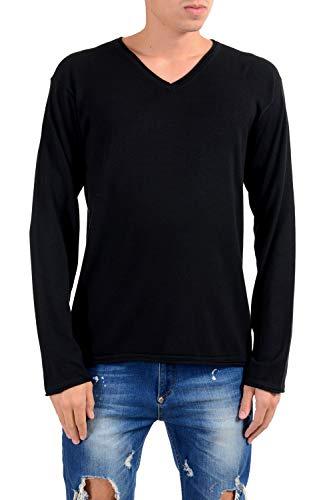 (Armani Collezioni Silk Solid Black V-Neck Men's Pullover Sweater US 2XL IT)