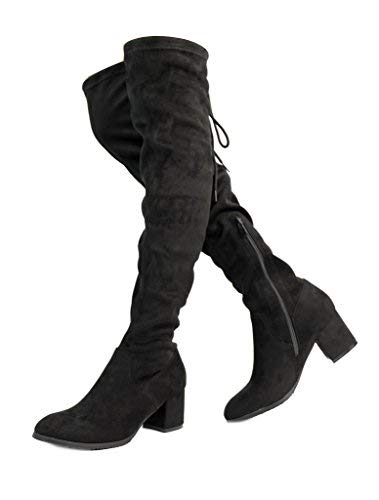 DREAM PAIRS Women's New Portz Black Over The Knee Thigh High Chunky Heel Boots Size 11 B(M) US]()