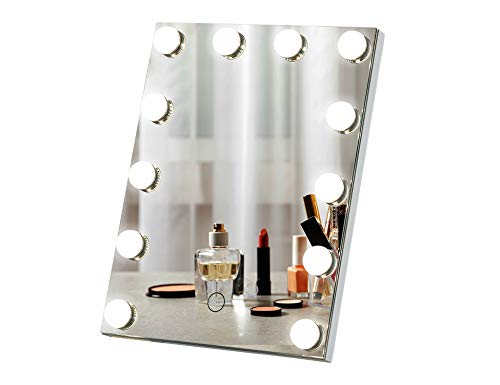 LUXFURNI Hollywood Lighted Vanity Makeup Mirror with 12 Dimmable LED Blubs, Touch Control Lights Tabletop Makeup Mirror