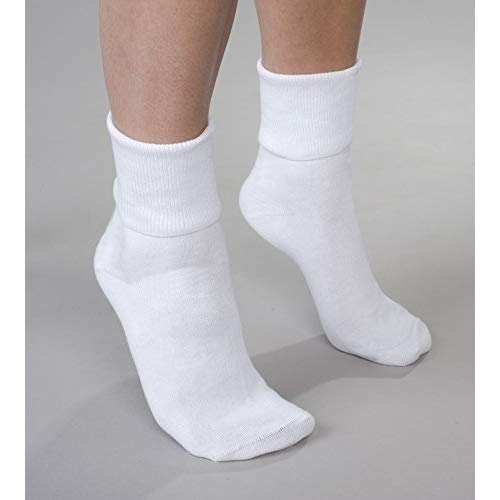 6 Pair Women's White Buster Brown Elastic-Free Cotton Socks - Sock Size 11 - Fits Shoe Sizes ()