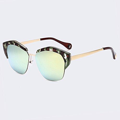 gafas sol C05 TIANLIANG04 tonos con de marco espejo de lentes C02 mujer metal clásicas UV400 Ojo de de Gafas de Gato rfEqEIH