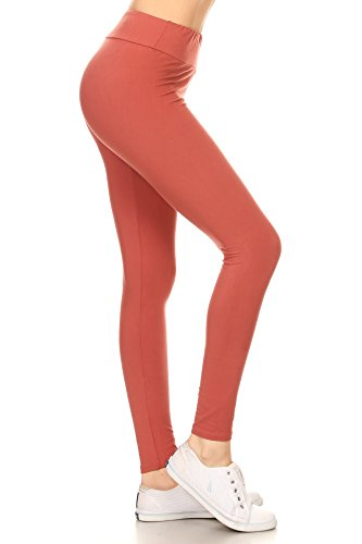 Leggings Depot YOGA Waist REG/PLUS Women's Buttery Soft Solid Leggings 16+Colors (Plus Size (Size 12-24), Marsala)