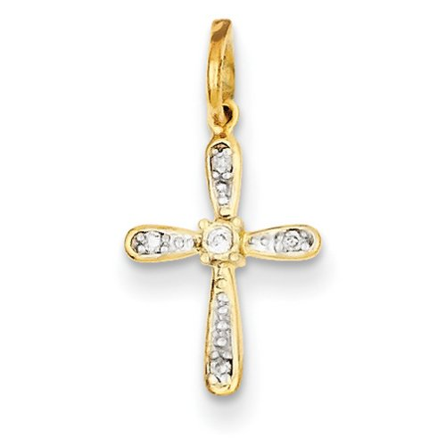 Icecarats Créatrice De Bijoux 14K Rhodium Charme Diamant Croix
